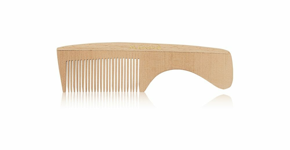 wooden beard comb with handle