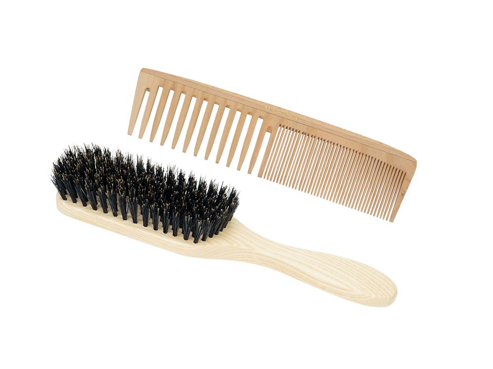 Cherry wood comb and brush