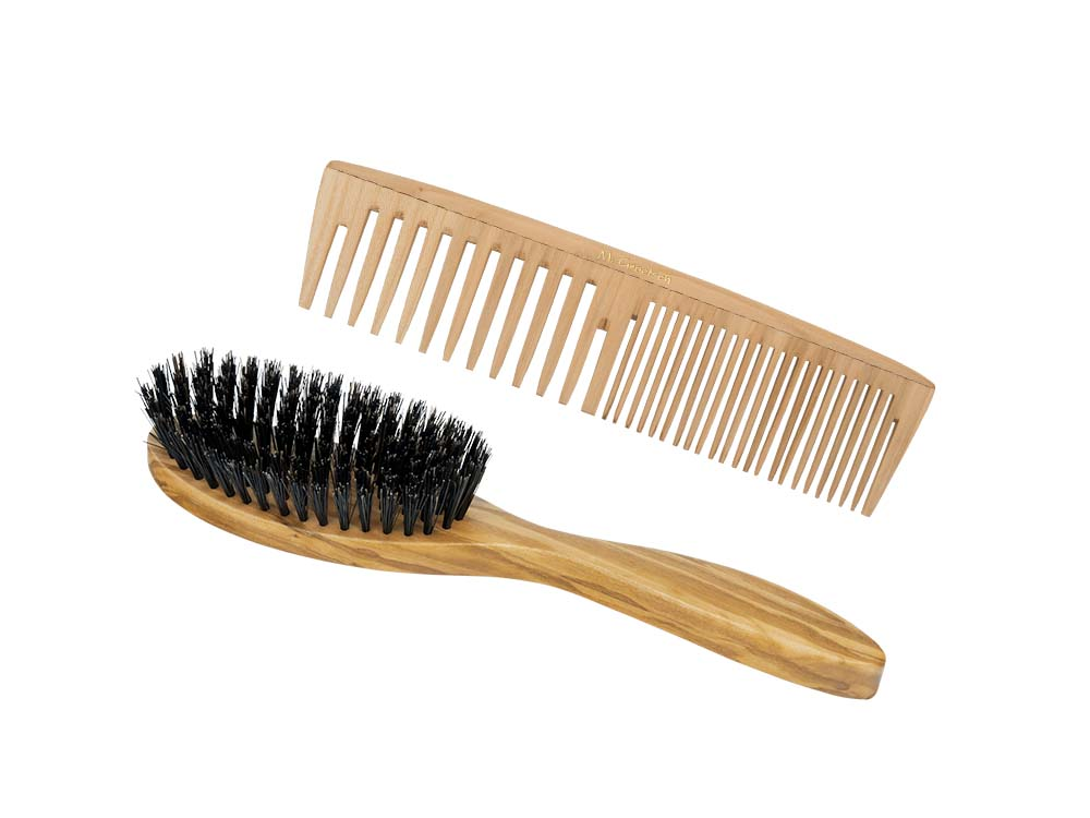 Wooden comb and brush for normal hair