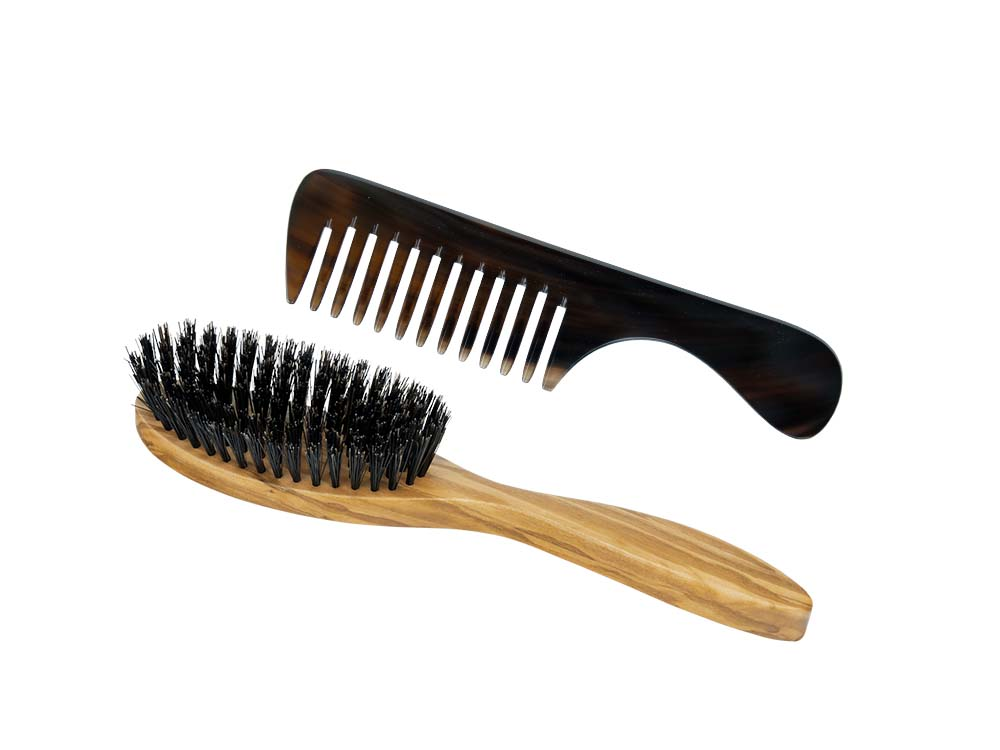 Horn comb and brush for normal hair